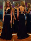Sheath/Column V-neck Silk-like Satin Sweep Train Beading Prom Dresses #Favs020102170