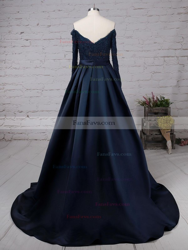 Princess Off-the-shoulder Sweep Train Satin Prom Dresses with Beading #Favs020102895