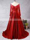 Ball Gown Off-the-shoulder Satin Sweep Train Beading Prom Dresses #Favs020102895
