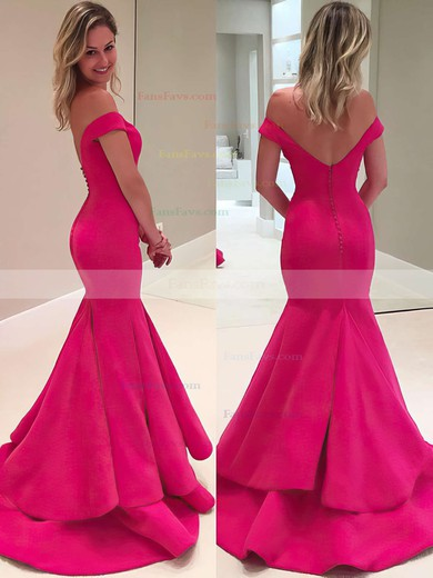 Trumpet/Mermaid Off-the-shoulder Satin Sweep Train Tiered Prom Dresses #Favs020102917