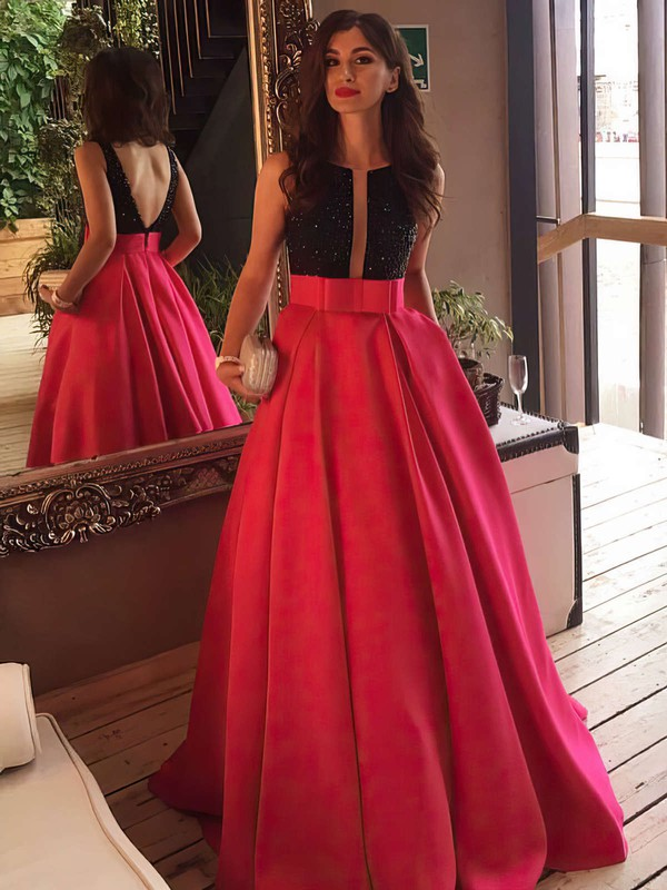 Princess Scoop Neck Sweep Train Satin Prom Dresses with Beading Sashes #Favs020102999