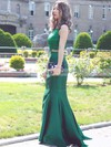 Trumpet/Mermaid Scoop Neck Sweep Train Lace Satin Prom Dresses with Sequins #Favs020103296