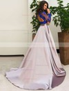 Ball Gown Scalloped Neck Sweep Train Tulle Satin Prom Dresses with Appliques Lace #Favs020103307