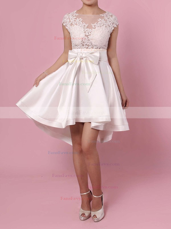 A-line Scoop Neck Asymmetrical Satin Tulle Prom Dresses with Appliques Lace Sashes #Favs020103433