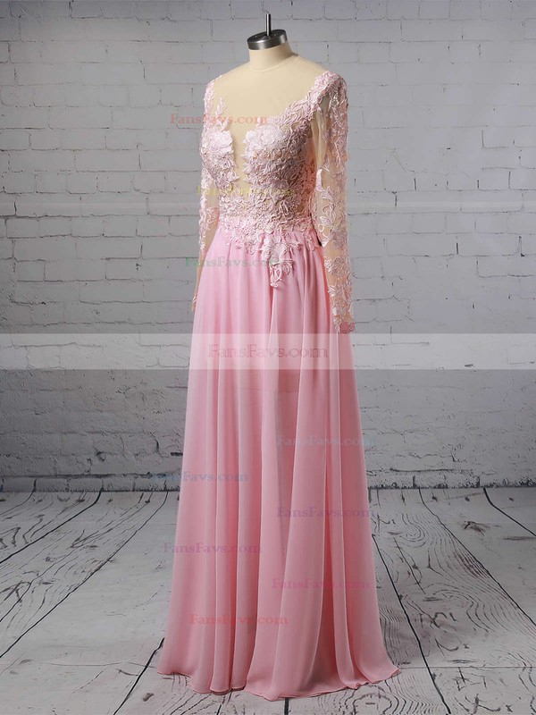 A-line Scoop Neck Chiffon Floor-length Appliques Lace Prom Dresses #Favs020103456