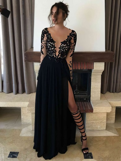 A-line Scoop Neck Floor-length Chiffon Prom Dresses with Appliques Lace Split Front #Favs020103456