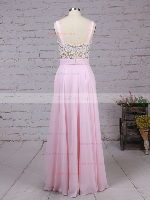 A-line V-neck Floor-length Chiffon Prom Dresses with Appliques Lace #Favs020103496