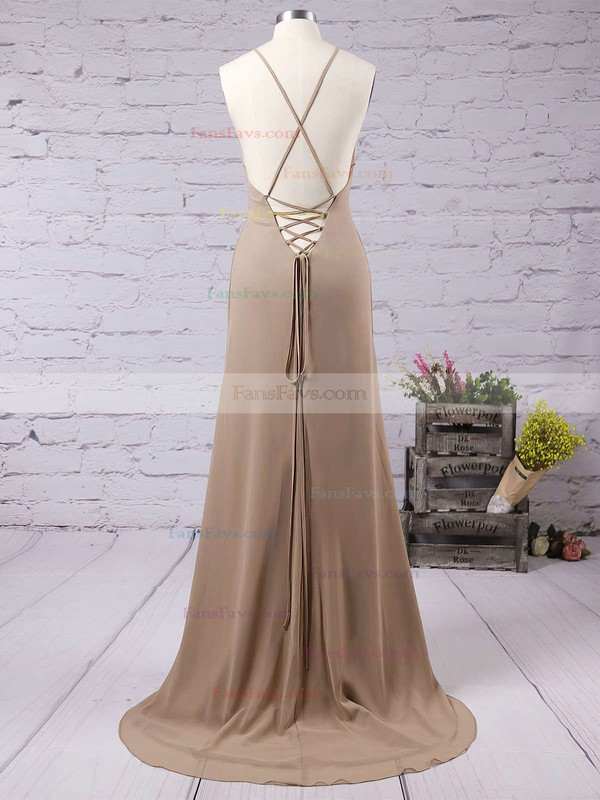 Sheath/Column Square Neckline Floor-length Chiffon Prom Dresses with Ruffle #Favs020103498