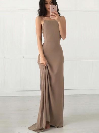 Sheath/Column Square Neckline Floor-length Chiffon Prom Dresses with Ruffle #Favs020103498