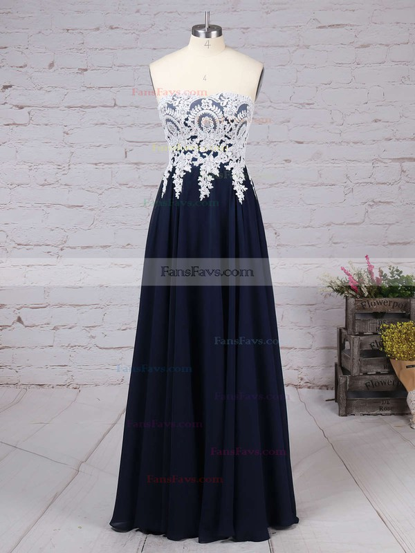 A-line Sweetheart Chiffon Floor-length Appliques Lace Prom Dresses #Favs020103501