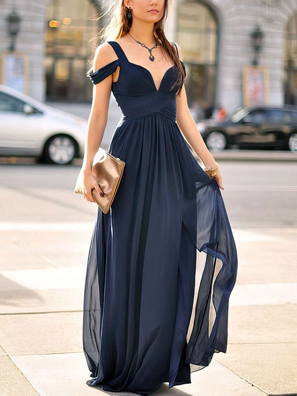 Empire V-neck Floor-length Chiffon Prom Dresses with Ruffle Split Front #Favs020103506