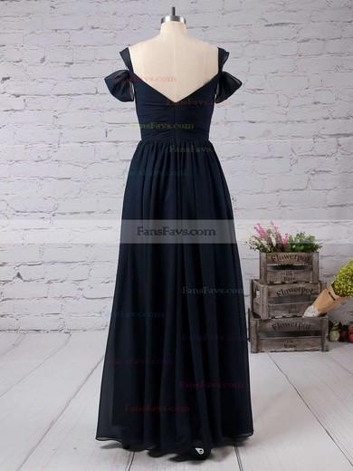 Empire V-neck Floor-length Chiffon Prom Dresses with Ruffle Split Front #Favs020103506