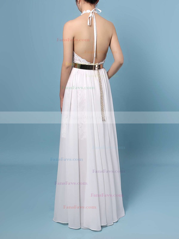 Sheath/Column Halter Lace Chiffon Floor-length Sashes / Ribbons Prom Dresses #Favs020103515