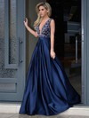 A-line V-neck Satin Sweep Train Beading Prom Dresses #Favs020103534