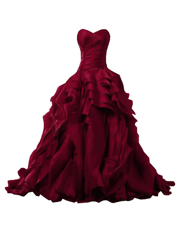 Ball Gown Sweetheart Organza Sweep Train Ruffles Burgundy Original Prom Dresses #Favs020103541