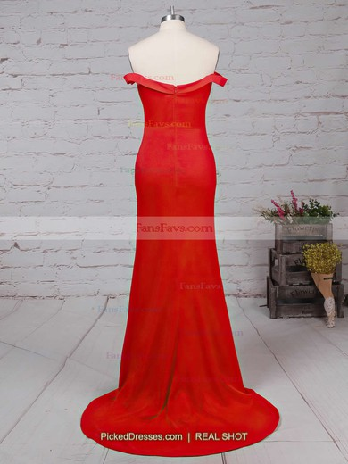 Sheath/Column Off-the-shoulder Silk-like Satin Sweep Train Ruffles Prom Dresses #Favs020102332