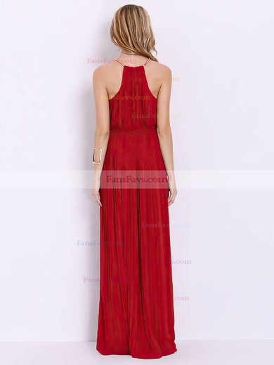 A-line Scoop Neck Floor-length Chiffon Prom Dresses with Sashes #Favs020103547