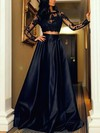 A-line Scoop Neck Floor-length Satin Tulle Prom Dresses with Appliques Lace #Favs020103569