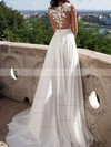 A-line Scoop Neck Chiffon Sweep Train Appliques Lace Prom Dresses #Favs020103578