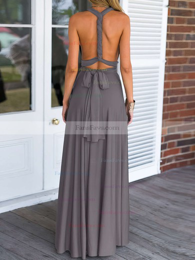 A-line V-neck Floor-length Jersey Prom Dresses with Ruffle #Favs020103579