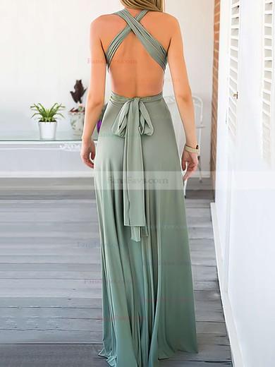 A-line V-neck Floor-length Chiffon Prom Dresses with Ruffle #Favs020103580