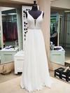 A-line V-neck Floor-length Chiffon Prom Dresses with Beading #Favs020103582