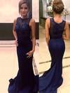 Trumpet/Mermaid Scoop Neck Jersey Sweep Train Beading Prom Dresses #Favs020102333