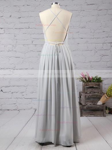 A-line V-neck Chiffon Floor-length Split Front Prom Dresses #Favs020103583