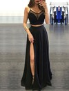 A-line Scoop Neck Floor-length Chiffon Tulle Prom Dresses with Split Front #Favs020103593
