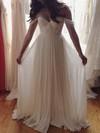 A-line Off-the-shoulder Chiffon Floor-length Ruffles Prom Dresses #Favs020103599