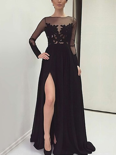 A-line Scoop Neck Sweep Train Chiffon Prom Dresses with Appliques Lace Split Front #Favs020103633