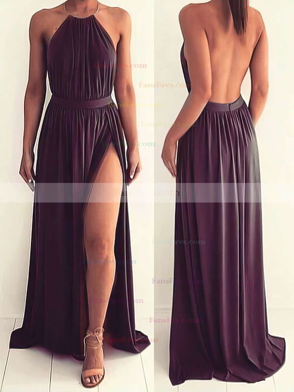 A-line Halter Floor-length Chiffon Prom Dresses with Split Front #Favs020103638