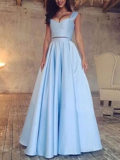 A-line V-neck Floor-length Satin Prom Dresses with Ruffle #Favs020103649