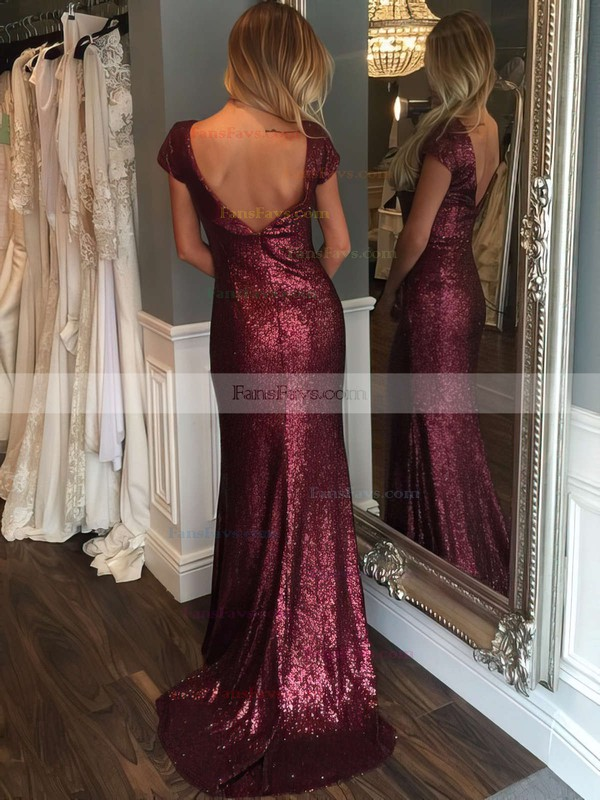 Sheath/Column Scoop Neck Sequined Sweep Train Prom Dresses #Favs020102573