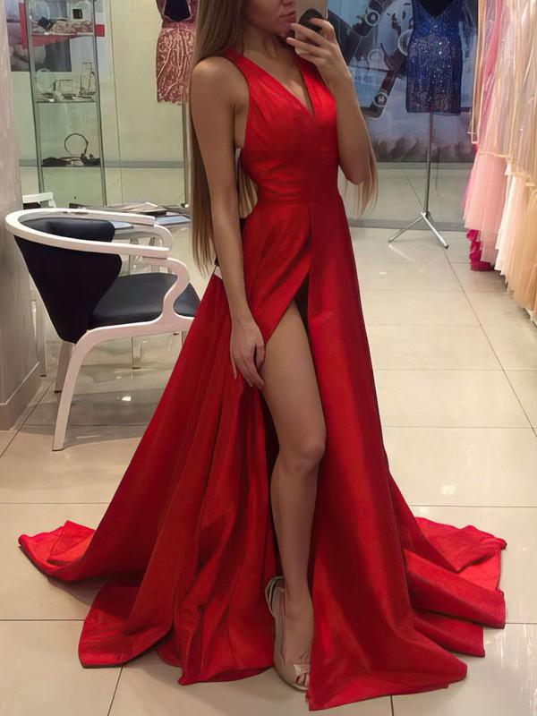 b9d9421716 A-line V-neck Court Train Silk-like Satin Prom Dresses with Split