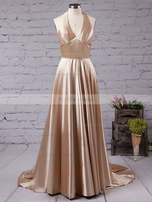 A-line V-neck Court Train Silk-like Satin Prom Dresses with Split Front #Favs020102467