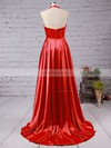 A-line V-neck Silk-like Satin Court Train Split Front Prom Dresses #Favs020102467