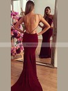 Trumpet/Mermaid V-neck Court Train Jersey Prom Dresses with Ruffle #Favs020103672
