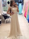 A-line High Neck Chiffon Sweep Train Crystal Detailing Prom Dresses #Favs020103774