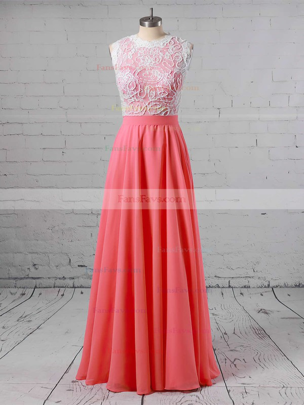 A-line Scoop Neck Floor-length Lace Chiffon Prom Dresses with Beading #Favs020103784
