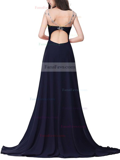A-line Scoop Neck Sweep Train Chiffon Prom Dresses with Beading #Favs020104145