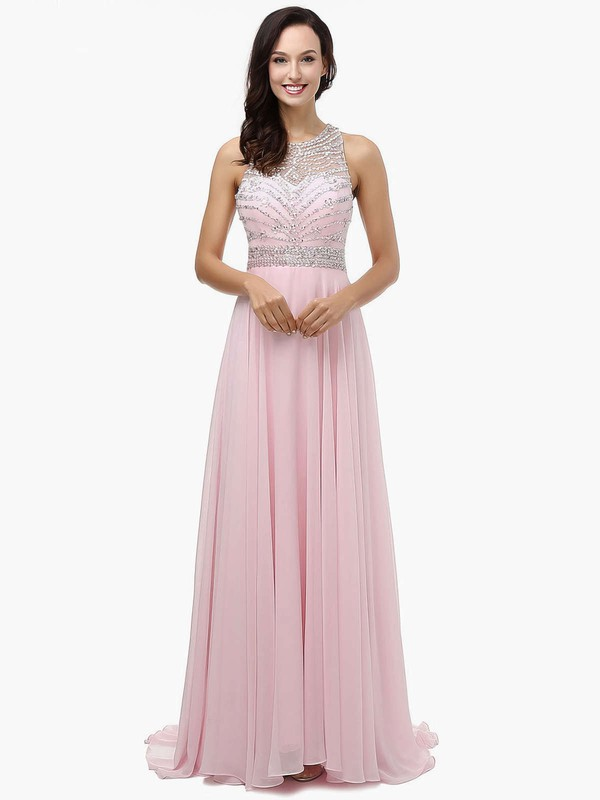A-line Scoop Neck Sweep Train Chiffon Tulle Prom Dresses with Sequins #Favs020104148
