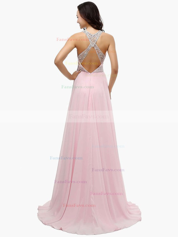 A-line Scoop Neck Chiffon Sweep Train Beading Prom Dresses #Favs020104148