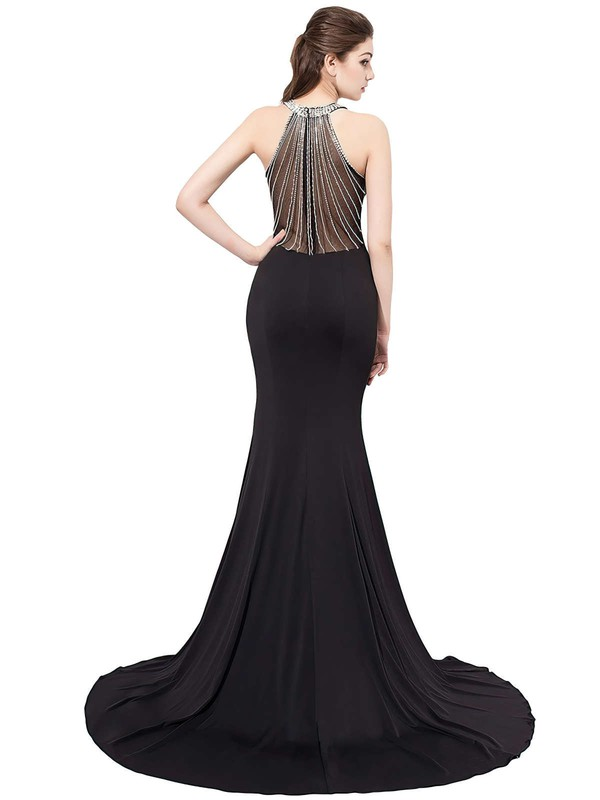 Trumpet/Mermaid Scoop Neck Jersey Sweep Train Crystal Detailing Prom Dresses #Favs020104149