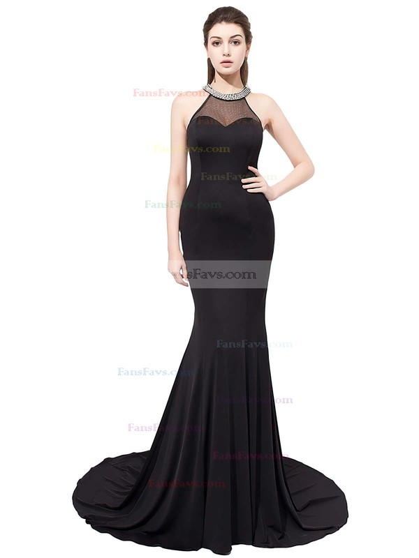 Trumpet/Mermaid Scoop Neck Sweep Train Chiffon Tulle Prom Dresses #Favs020104149
