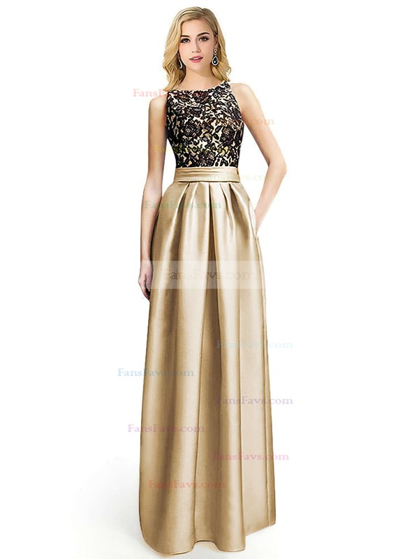 A-line Scoop Neck Floor-length Satin Prom Dresses with Appliques Lace #Favs020104152