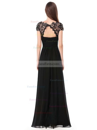 A-line Scoop Neck Chiffon Ankle-length Lace Prom Dresses #Favs020104154