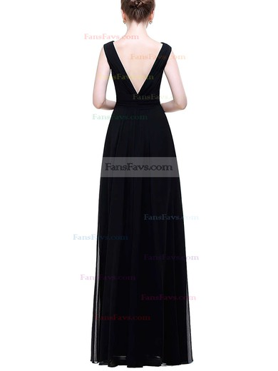 A-line V-neck Floor-length Chiffon Prom Dresses with Ruffle Crystal Brooch #Favs020104156
