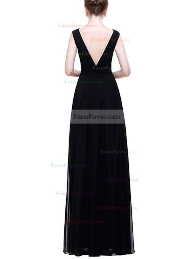 A-line V-neck Chiffon Floor-length Ruffles Prom Dresses #Favs020104156