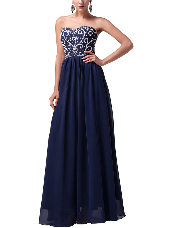 A-line Sweetheart Floor-length Chiffon Prom Dresses with Sequins Beading #Favs020104157